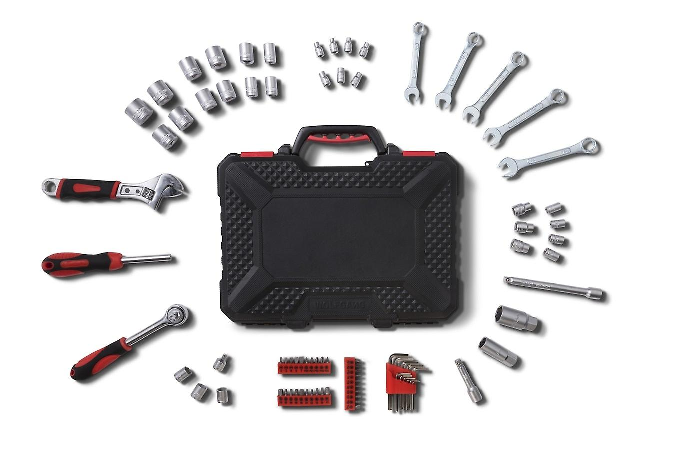 WOLFGANG 83 Parts Tool Case with Tool Set , Screwdriver, Wrench, Socket Set, Ratchet , For Home, Car Car, Workshop, Industry, Toolbox Filled - 83 Parts