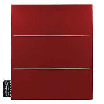 MOCAVI Box 141 Design letterbox with newspaper compartment ruby-red (RAL 3003) with stainless steel detail