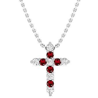 Dazzlingrock Collection 14K Round Garnet & White Diamond Ladies Cross Pendant, White Gold