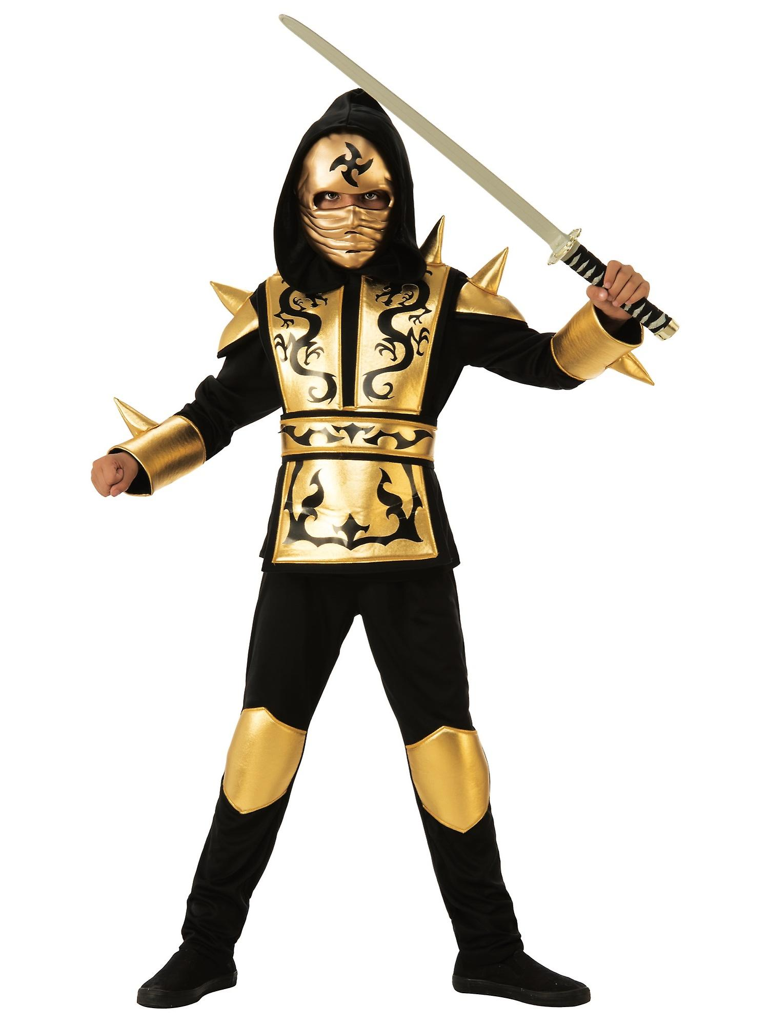 Gold Dragon Ninja Japanese Warrior Stealth Book Week Child Boys Costume