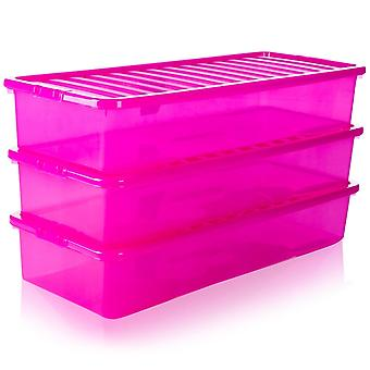 Pack de stockage Wham de 3 - 55 litres Extra Long Shallow Under Bed Storage Boxes With Lids