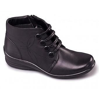 Padders Tanya Ladies Leather Wide (e/2e) Ankle Boots Black