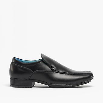 Front Belmont Boys Leather Tramline Loafers Black
