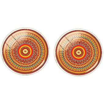 Bassin and Brown Bohemian Swirl Cufflinks - Orange/Red/Green
