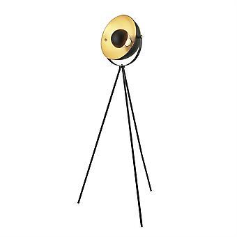 Søkelys blink 1 lys gulvlampe matt svart, gull 8022BK