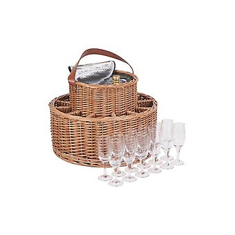 Green Tweed Chilled Wicker Garden Party Basket