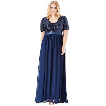 Goddiva Sequin Chiffon Short Sleeved Maxi Dress