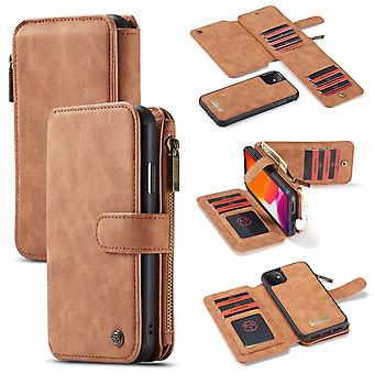For iPhone 11 Case, Wallet PU Leather Detachable Flip Cover, Brown
