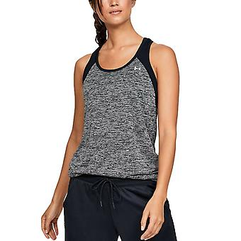 Under Armour Tech Colour Block Womens Gym Fitness Training Vest Tank Black