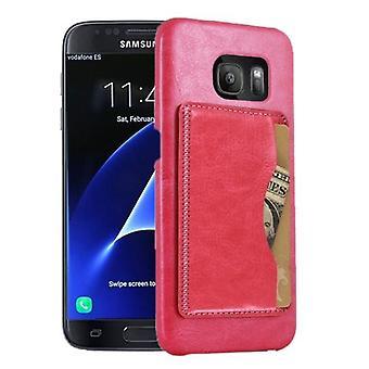 For Samsung Galaxy S7 EDGE Wallet Case,Modern Shell Shielding Cover,Magenta