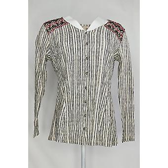 Style & Co. Women's Top Stripe Long Sleeve Button Down Shirt White