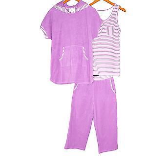 Carole Hochman Women's Pyjama Pants Side Stripe Baby Terry Purple A286848