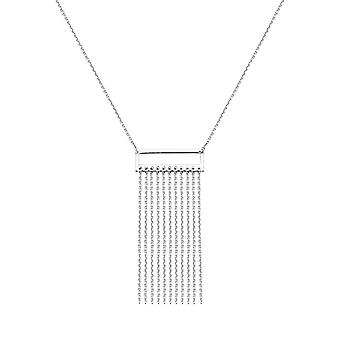 925 Sterling Silver Rhodium Plated Adjustable Mini Open Rectangle Frame Tassel Necklace 18 Inch Jewelry Gifts for Women
