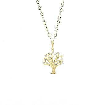 Eternity 9ct Gold Cubic Zirconia Set Tree Of Life Pendant And 16'' Trace Chain