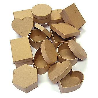 Assorted Shapes Paper Mache Boxes Set of 12