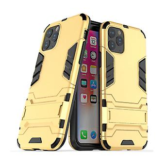 HATOLY iPhone 11 Pro Max - Robotic Armor Case Cover Cas TPU Case Gold + Kickstand