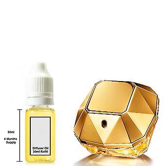 Paco Rabanne Lady Million Hänen innoittamana Tuoksu 30ml täyttö olennainen diffuusori öljy poltin tuoksu diffuusori