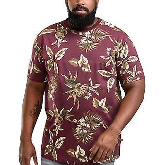 Duke D555 Mens Baxter Big Tall King Size Crew Neck Floral T-Shirt Top Tee - Wine