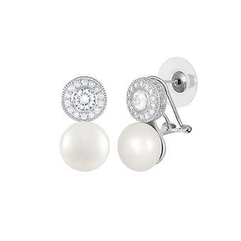 Eeuwige Collectie Sonata AAA + Zoetwater parel en kubieke Zirconia Sterling Zilveren Stud Oorbellen