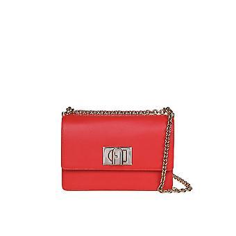 Furla 1056934 Women's Red Leather Shoulder Bag