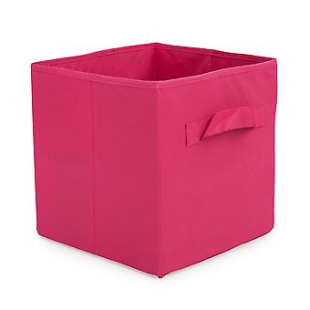 Essentials by Loft 25 Pink Collapsible Organiser Storage Box | Designed for Cube Storage Furniture | Bedroom Storage | Foldable and Durable Fabric | Carry Handles