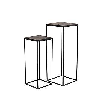Set da tavolo lato luce e vivente di 2 33x33x80 e 38x38x100cm Chisa Wood Brown-Black