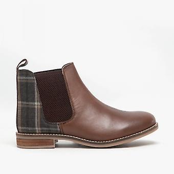 Cipriata Zoe Ladies Leather/tweed Ankle Boots Dark Brown