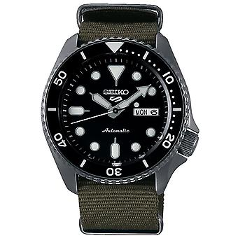 Seiko 5 Sports Black Dial Khaki Green Canvas Strap Automatique Hommes-apos;s Regarder SRPD65K4
