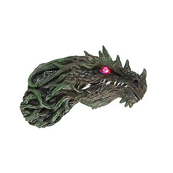 Green Vine Morph Dragon Head Wall Mounted Sculpture With LED Lighted Eyes