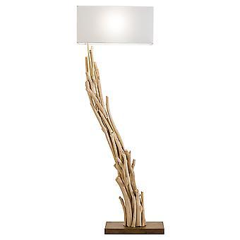 Modern Home Angled Driftwood Nautical Wooden Floor Lamp