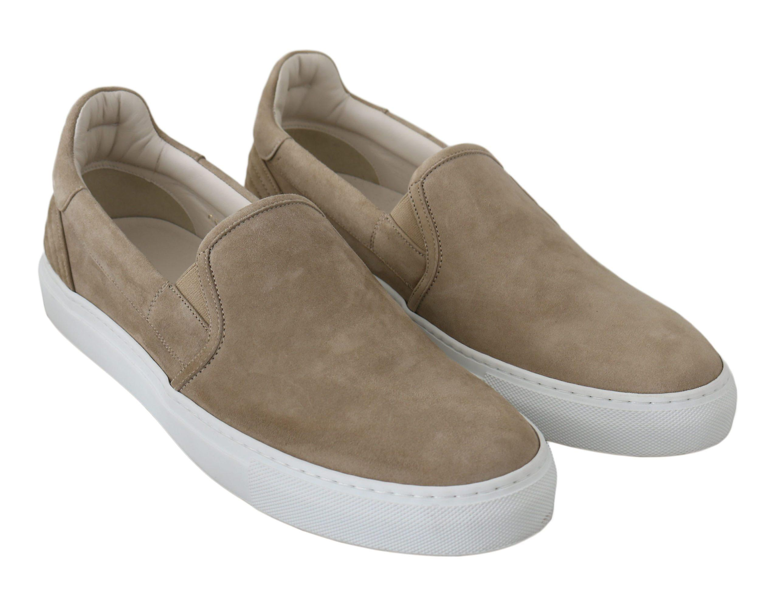Dolce & Gabbana Beige Leather Suede Loafers Slip-Ons Shoes -- MV24466352 4bBmsZ