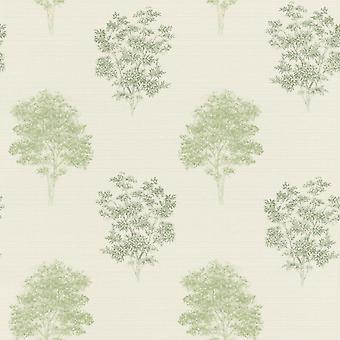 Faulsonntag Baum Print Design Tapete Pastell grün Rasch 401530