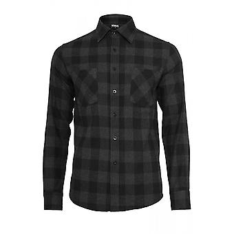 Urban Classics Charcoal Black Checked Flannel Shirt