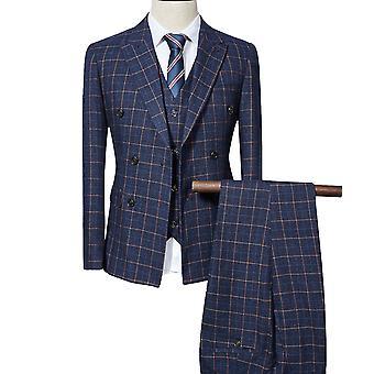 Allthemen Men's Suit Plaid Business Casual Double-Breasted 3-Pieces Suit Blazer Pants Vest