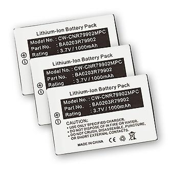 3-BATTERIPAKKE for Creative Labs BA20203R79902 Nomad Xtra MuVo2 Jukebox Zen MP3 spilleren 3 x 3PK