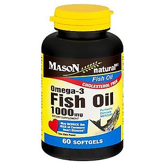 Mason natural fish oil, 1000 mg, omega-3, no burp, softgels, 60 ea