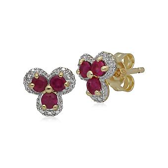 Classic Floral Ruby & Diamond Stud Earrings in 9ct Yellow Gold 183E1133029