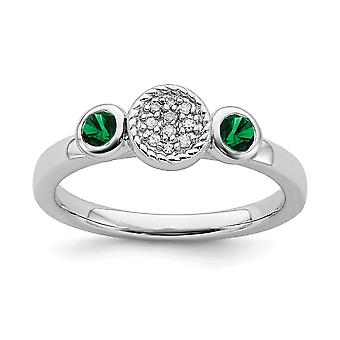 925 Sterling Silver Bezel Polished Prong set Rhodium plaqué Stackable Expressions Db Round Cr. Emerald et Dia. Ring Juif