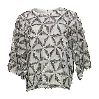 Masseys Women's Top Blouse w/ Back Zipper Closure Wit/Silver