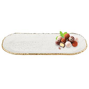 "18"" Mouth Blown Oval Edge Gold Leaf Platter"