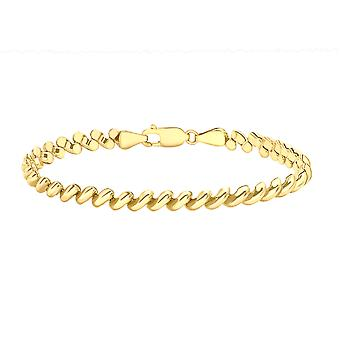 9ct Yellow Gold Pebble Chain Bracelet for Women Size 7.5
