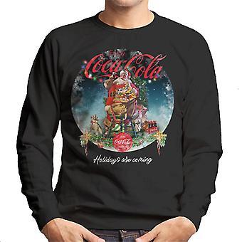 Coca Cola Santa am Weihnachtsbaum Männer's Sweatshirt