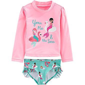 Simple Joys by Carter's Girls' Toddler 2-Piece Rashguard Set, Pink Mermaid, 5T