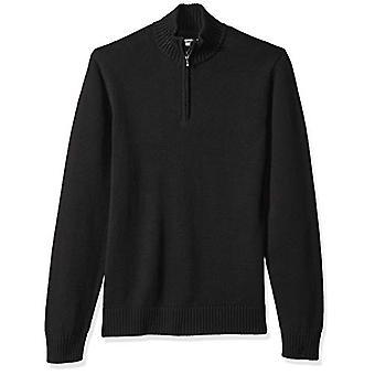グッドスレッド メン&アポス s ソフトコットンクォータージップセーター、ソリッドブラック、X-ラージ