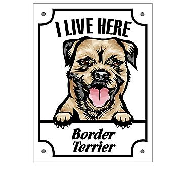 Tin plate I stay here Border terrier Squinting dog sign