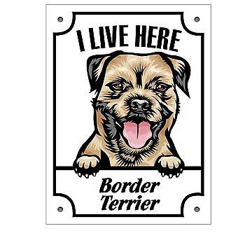 Placa de staniu stau aici Border terrier Squinting câine semn