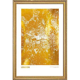 Juniqe Print - Gold London - Pôster de Londres em Amarelo e Branco