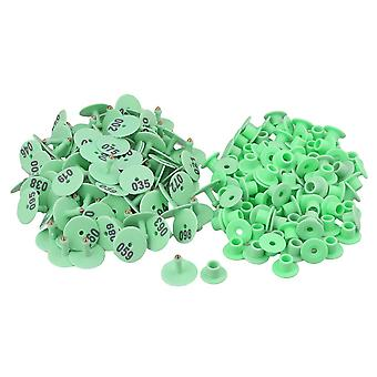 100pcs Round Pig Poultry Goat Hog Cattle Ear Tags Green