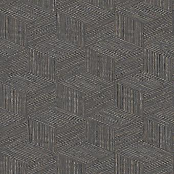 Bakau Geometric Wallpaper Charcoal Holden 65642