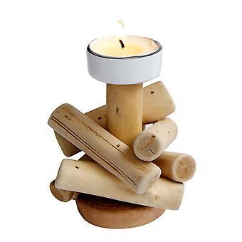 Wooden Pastoral Candlestick Desktop Ornament